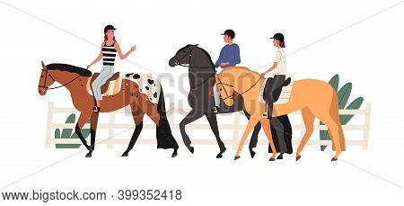 Group Of Young People Riding Horse At Racecourse. Couple At Equestrian School With Instructor. Scene