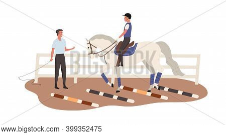 Young Horseman Training At Equestrian School. Jockey Riding Horse. Trainer Give Lessons Of Horseridi