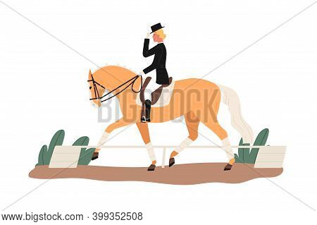 Young Horsewoman At Racecourse. Professional Equestrian Competition, Dressage Performance. Woman Rid
