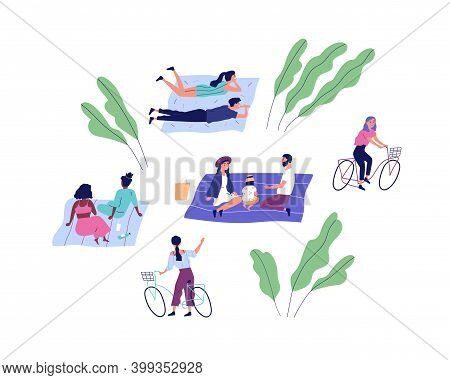 Happy People At Summer Picnic In The Park. Family With Child, Couple, Friends And Bicyclists Spend T