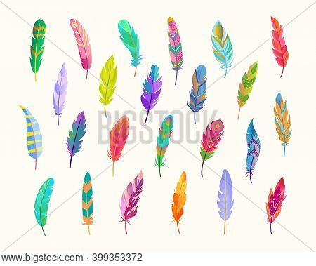 Exotic Bird Feathers Set. Rich Waterfall Of Colored Fluff Bright Green Design With Red Tints Soft Bl