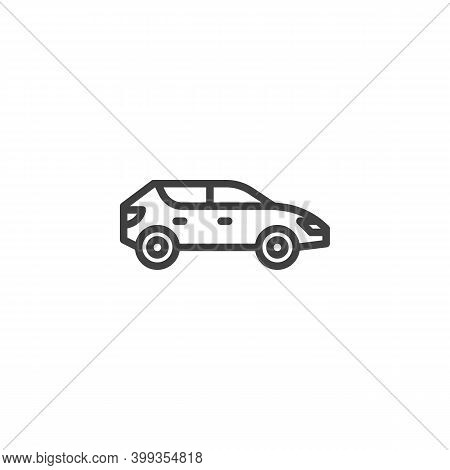 Suv Car Line Icon. Linear Style Sign For Mobile Concept And Web Design. Crossover Car Outline Vector