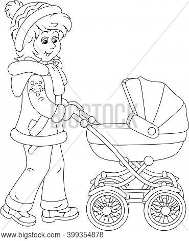 Young Cute Mom On A Leisurely Walk With Her Small Child Sleeping In A Baby Carriage On A Winter Day,