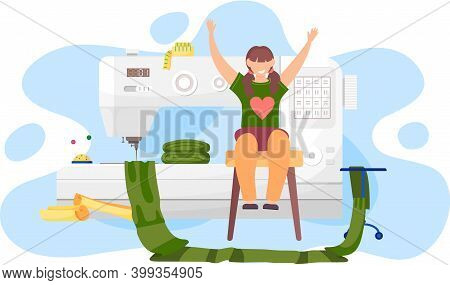 Girl Happily Raising Her Hands. Woman Thinking About Design Of Clothes. Female Character In The Tail