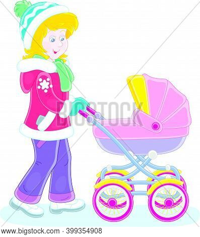 Young Cute Mom Leisurely Walking With Her Small Child Sleeping In A Colorful Baby Carriage On A Wint