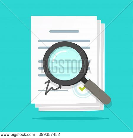 Analysis Inspection Audit Of Agreement Contract Documents Vector, Statement Terms Review Vector Flat