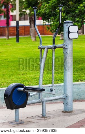 training apparatus in the park in summer