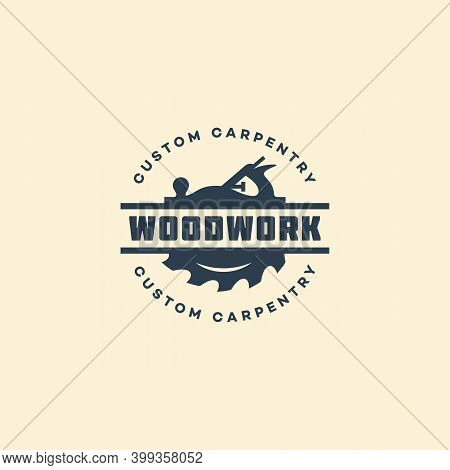 Logo Design Template With A Hand Plane And A Circular Saw For Wood Shop, Carpentry, Woodworkers, Woo