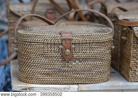 Famous Balinese Rattan Eco Bags In A Local Souvenir Market On Street In Ubud, Bali, Indonesia. Handi