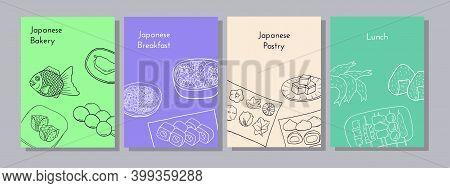 Hand Drawn Poster Set With Yakitori, Tempura, Sushi, Onigiri, Nabe, Soba, Taiyaki, Yokan, Mocha, Nam