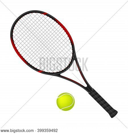 Tennis Racket And Ball, 3d Vector Illustration
