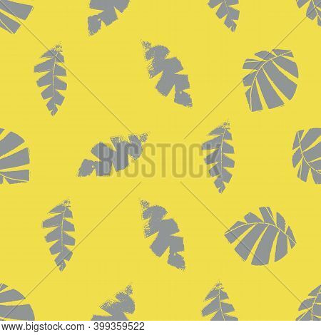 Mono Print Style Scattered Leaves Seamless Vector Pattern Background. Textured Cut Out Grey Foliage