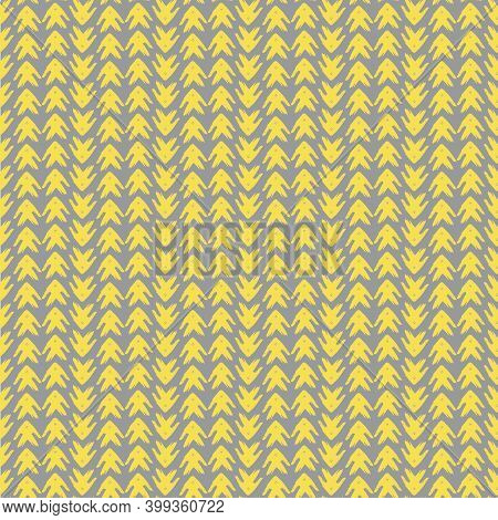 Vector Yellow Grey Tribal Style Arrow Seamless Pattern Background. Painterly Chevrons In Vertical Ro