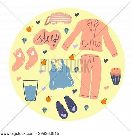 Hand Drawn Set Of Items For Pajama Party, Sweet Dreams Concept, Cozy. Pajamas, T-shirt, Eye Mask, Sl