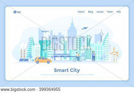 Smart City Skyline. Urban Landscape With Building Architecture, Communication, Infrastructure, Trans