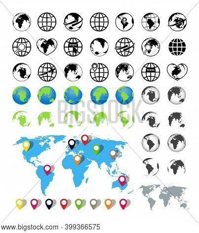 World Maps On Globes. Icons Of Earth. Global Map With Countries, Continents And Oceans. Planets With