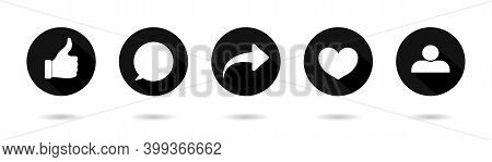 Icon Of Like, Share, Comment, Repost. Buttons For Social Media. Logos Of Heart, Post, Love, Arrow An