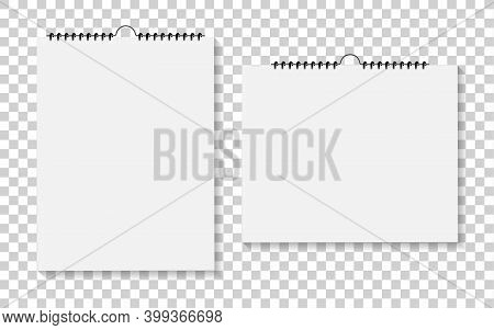 Notebook Or Calendar With Bound Of Spiral. Mockup Of Notepad And Calender On Wall. Paper Pads For No