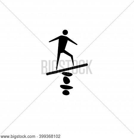 Abstract Balancing Man Concept. Balance Vector Icon