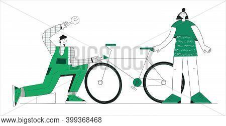 Bike Repair Service Concept Serviceman Repairing A Bicycle In Bike Workshop Flat Vector Illustration