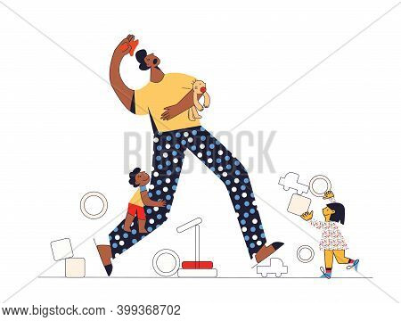 Difficult And Frustrated Parenting Multicultural Family Adoptive Father And Children Flat Vector Ill