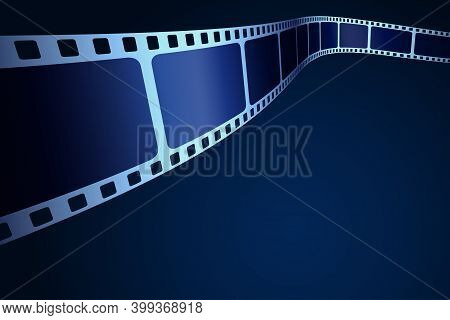 3d Cinema Stripe In Perspective. Vector Template Cinema Festival With Place For Text. Movie Design W
