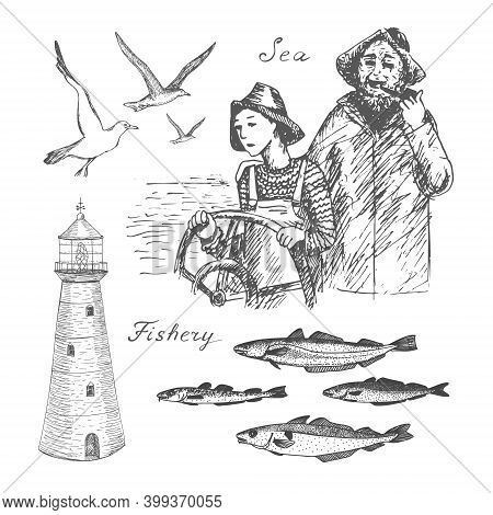 North Codfish Fishery. Hand Drawn Black Realistic Outline Vector Illustration.
