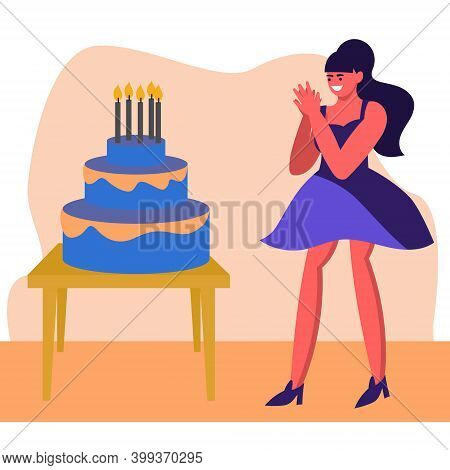 The Girl Was Given A Birthday Cake, The Girl Is Happy With The Gift, Claps Her Hands. Happy Birthday