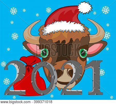 New Approaching Holiday 2021 Animal Oxen On Turn Blue Background