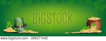 St.patrick Day, Green Hat On Pot With Gold Coin With Irish Shamrock Leave.3d Mesh Vector Clover Leav