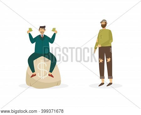 Rich Businessman And Poor Beggar Man Flat Vector Illustration Isolated.