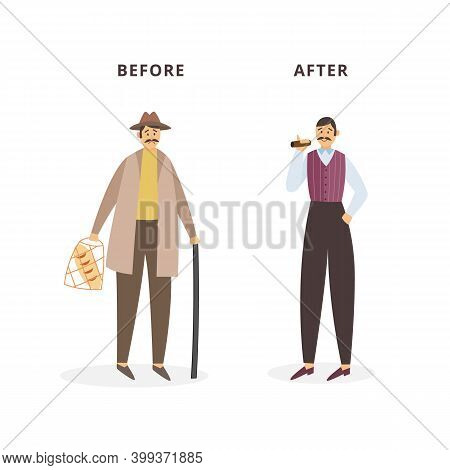 Cartoon Characters Of Sad Poor And Happy Rich Man A Vector Illustration