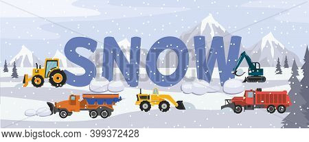 Winter Snowy Cityscape With Snowplough Cars Flat Vector Illustration.