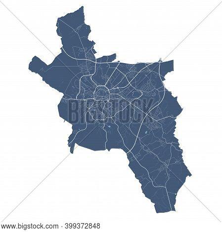 Aachen Map. Detailed Vector Map Of Aachen City Administrative Area. Cityscape Poster Metropolitan Ar