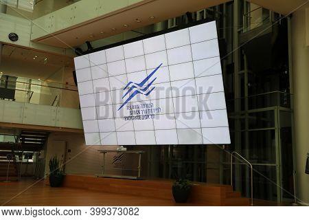 Tel Aviv, Israel - November 23, 2020 : Tel Aviv Stock Exchange Interior Building. Stock Large Displa