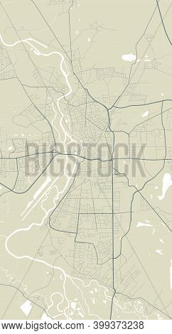 Detailed Map Of Halle, Saale City Administrative Area. Royalty Free Vector Illustration. Cityscape P