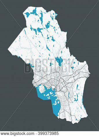 Oslo Municipality County Map. Detailed Map Of Oslo City Administrative Area. Cityscape Panorama. Roy