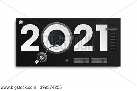 Happy New Year 2021 Party Djs Music Panel Background. Greeting Card Headphone Dj Player Headphone 20
