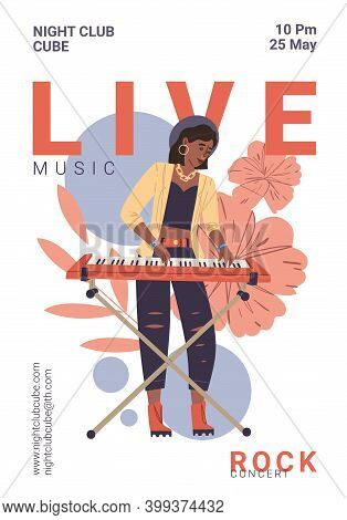 Vector Cartoon Flat Character On Live Rock Music Fest Plays Keyboards- Web Ad Banner Stories, Night