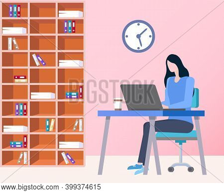 Secretary Sitting By Laptop , Worker Comparing Results In Charts, Office Interior Design With Shelve