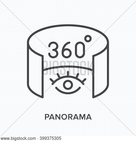 360 Degree Panorama Flat Line Icon. Vector Outline Illustration Of 3d Tour. Augmented Reality Black