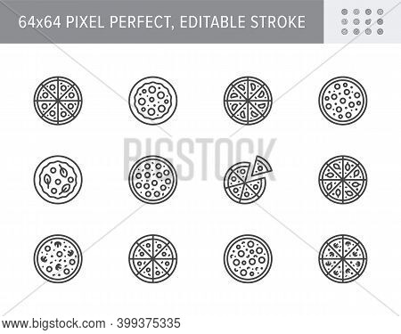 Pizza Line Icons. Vector Illustration Included Icon As Slice, Pepperoni, Margarita, Vegetarian Resta