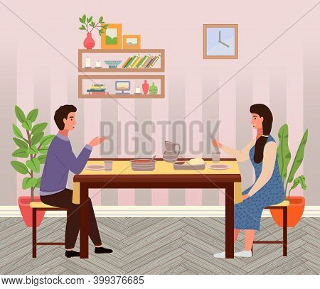 Restaurant In Indian Style Vector Illustration. Dining Table With Pitas And Tomato Soup. Arrangement