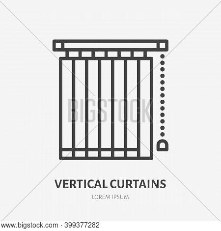 Window Vertical Jalousie Flat Line Icon. Vector Outline Illustration Of Blind Curtain. Black Color T