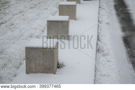 Barriers Made Of Concrete Cubes Size 50 Cm. Serves As A Barrier To The Entrance To The Park And The
