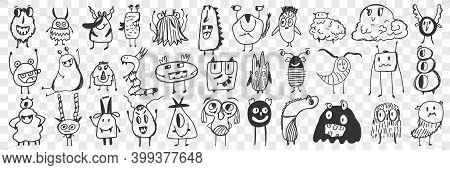 Scary Cartoon Characters Doodle Set. Collection Of Hand Drawn Cute Scary Spooky Cartoon Characters W