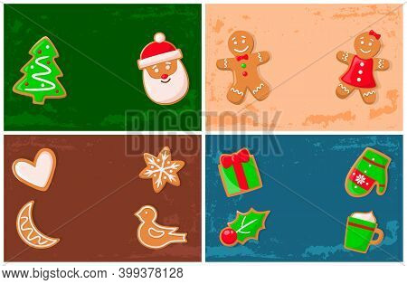Holly Jolly Gingerbread Man, Santa Claus Cookie Vector. Presents With Bow Shape, Bird And Stars, Moo