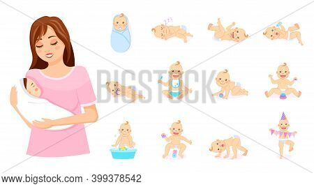 Mother With Baby On Hands. Set Of Babies In Different Poses, Newborns, Emotions Of Baby, Motherhood.