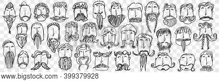 Beard And Mustache Doodle Set. Collection Of Funny Hand Drawn Male Head With Different Style Of Bear