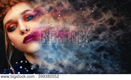 Dissolving Face Into Pieces. Fashion Model Girl Portrait With Colorful Powder Make Up. Beauty Woman